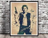 Vintage Star Wars Han Solo with Gun Watercolor Print Painting Poster Illustration Space Cowboy Darth Vader Wookie Chewbacca Mill Falcon Blue