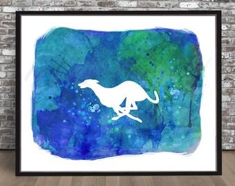 Running Greyhound watercolor PRINT white silhouette painting Dog Gray Hound Print watercolour Grayhound blue green nursery children child