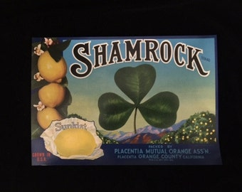 Lucky Shamrock!  Vintage Crate label Collectible