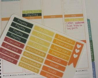 Everyday Planner Stickers Yellow/Orange