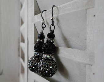 Hand Wired Black and Grey Jet Earrings – ERU073