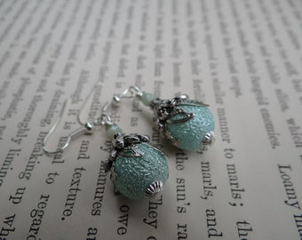 Vintage Style Wire Wrapped Capped Dangle Aqua Blue Bumpy Pearl Bead Earrings – ERU088