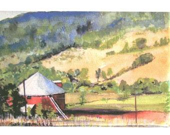 Original Art Work by Joan Stromberg Hillside Farm