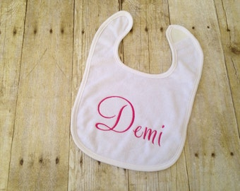 Customizable embroidered bib, embroidered bib, personalized bib, custom bib, baby bib, baby girl bib, baby boy bib, name bib