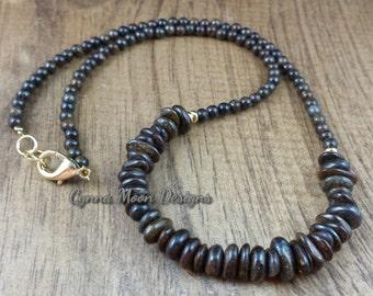 Bronzite Crescent Necklace