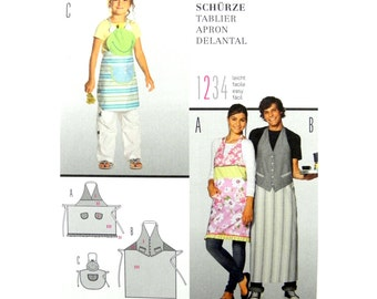 2011 Burda Style 7411 Men's, Women's and Kid's Long an Short Aprons Uncut, Factory Folded, OOP Sewing Pattern Multisize