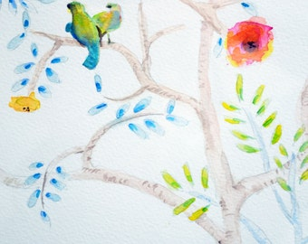 Chinoiserie Watercolor Triptych