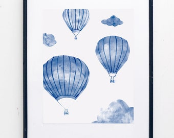 Up In The Air Watercolor Print - JPress Designs, watercolor painting, hot air balloon, nursery decor, nursery art, balloon print,balloon art