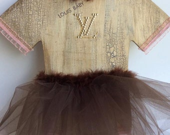 Hand-Painted, Louis Vuitton Inspired Baby LV Onesie Wooden Wall Decor Tutu