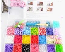 4400pcs, rainbow loom bands DIY rainbow rubber band, bracelet weaving frame,