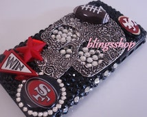 Custom Made 3D Style Bling Sports Phone Case San Francisco 49ers Football Phone Case Rhinestones Bling Case-Sports Team Case