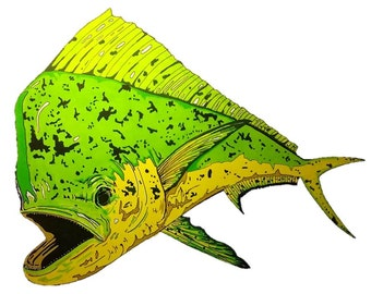 Mahi Mahi 11x14 Drawing, Mahi Mahi, Dorado, Fish Art, Sea Life Art, Animal Art, Marine Wildlife Illustration