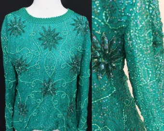 Beaded Emerald Green Vintage Top by Gue's Allure Made in India