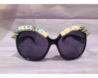 Sick Sad World Daria Inspired OOAK Retro 90s Black Spiked Sunglasses