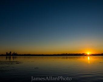 Good Morning Minneapolis II Wall art print photograph skyline landscape peaceful Minnesota Twin Cities Lake Calhoun summer
