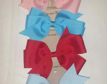 4 Hair bows, Single prong lined clip, light pink, red, light blue and turquoise.