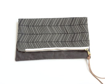 Reversible Waxed Canvas Foldover Clutch - Forest Green with Skinny Herringbone Pattern