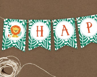Instant Download Jungle Lion Printable Party Banner, Jungle Lion Happy Birthday banner, Safari Party Printable, Jungle Banner