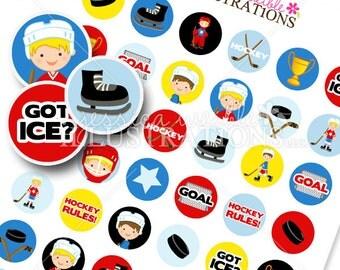 Hockey Boys Printable 1 Inch Circles, Bottle Cap Circles, Printable Circles, Printable Candy Circles, Hockey Party, Confetti, Download