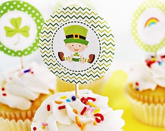 Lucky Baby Printable Party Favor Tags, 2 inch Cupcake Toppers, St Patricks Day Square Tags, Shamrock Tags, St Patricks Day Party Tags