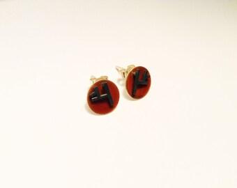 Small circle enamel earrings - Orange