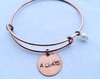 Always Rose Gold Bangle, Love, Bangle, Stacked Bangles, Minimalist, Copper