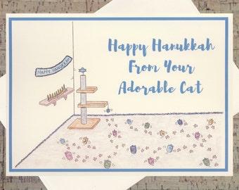 Cat Card, Funny Hanukkah Card, Hanukkah Card, Jewish Card, Cat Holiday Card, Cat Lover, Pet Holiday Card, Seasonal Card, Happy Hanukkah