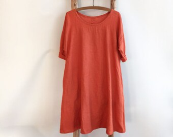 Linen Dress, Trapeze dress, Loose dress, Womens tunic dress plus size, orange dress, linen dresses for woman, summer dress, Loose dress