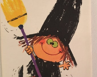 Vintage Halloween Card, Happy Witch, NOS, Unused Card, 2960s, Gibson