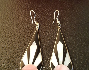 Vintage Earrings Stamped - ALPACA MEXICO - Enameled with Shell