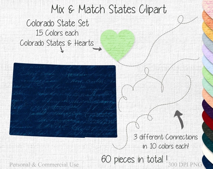 COLORADO STATE to STATE Clipart Commercial Use Clipart Mix & Match State Wedding Clipart Colorado Map 2 States Connected State Map Clipart