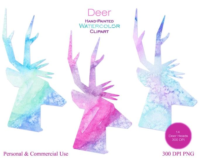WATERCOLOR DEER HEAD Clipart Commercial Use Clipart Fun Reindeer Antlers Watercolor Deer Clipart 14 Rainbow Watercolor Deer Head Silhouettes