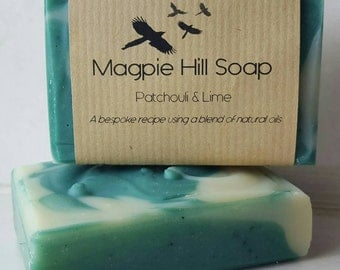 Patchouli and Lime Soap, Hippy Scent, Green soap, Cold Process, Floral and Citrus Handmade Soap