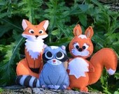 Felt Animals Sewing Pattern PDF, Stuffed Fox Pattern, Felt Squirrel Pattern, Raccoon Sewing Design, Forest Animals Patterns, Toy Embroidery