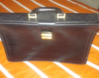 Black Leather Briefcase by Marjnelli Italy