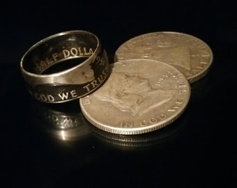 Coin Ring - Ben Franklin Half Dollar Coin Ring - Mens Coin Ring - Benjamin Franklin Ring
