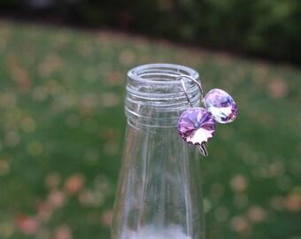 Swarovski Crystal Drop Earrings - Pink
