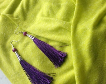 Tassel Earrings, Purple earrings, Summer Jewelry