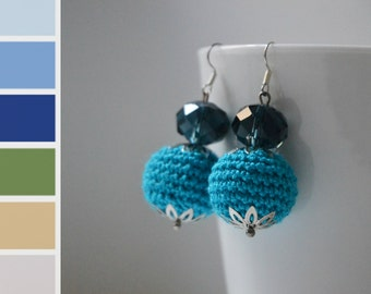 Blue Crochet Round Earrings