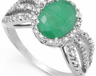 Bold 3.305 Ct TCW Genuine Emerald Ring Diamond Accents Sterling Silver Size 7