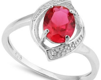 Great 1.35 Ct Lab Ruby Sterling Silver Size 7