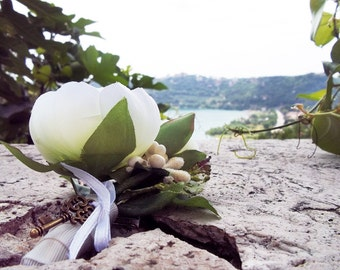 White Ranunculus - Groom's Boutonniere