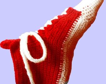 Crocheted Slippers, Wool socks,  Red Converse Slippers, Crochet Converse, Woman Converse Slippers, Crochet Sneakers, novelty Sneakers