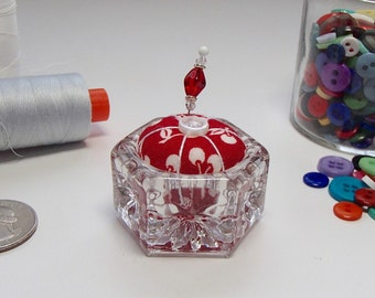 Saltcellar Pincushion - Red and White Fabric - Cherries