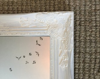 Shabby Chic Wall Mirror Bathroom Vanity Mirror Nursery Mirror Mantle Decor Large Baroque Ornate Style Custom Colors Available