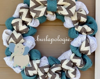 Grey Chevron Burlap Wreath Elephant Wreath Gender Neutral Nursery Wreath Baby Shower Wreath, 15 - 16 Inches