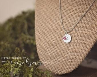 Dainty Girls Initial Necklace - metal stamp birthstone pearl custom gift