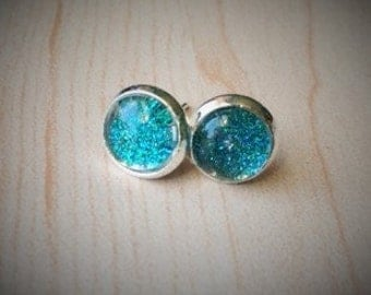 Glittery Blue Shiny Stud Earrings
