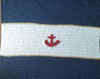 Nautical crochet baby blanket