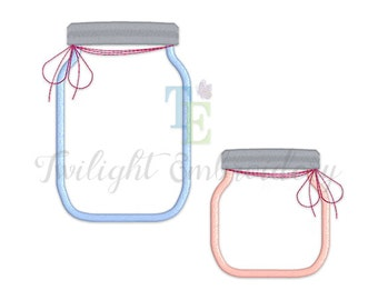 Set of 2 Mason Jar Applique Machine Embroidery Designs, Fruit Jar Machine Embroidery Design, Glass Jar Machine Embroidery Design 0019